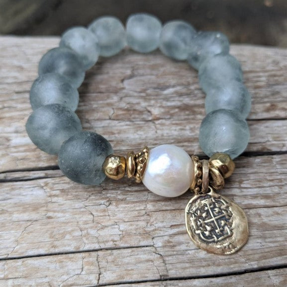 Handmade artisan large white pearl bracelet with gray blue recycled glass and gold bronze heart charm by Aurora Creative Jewellery