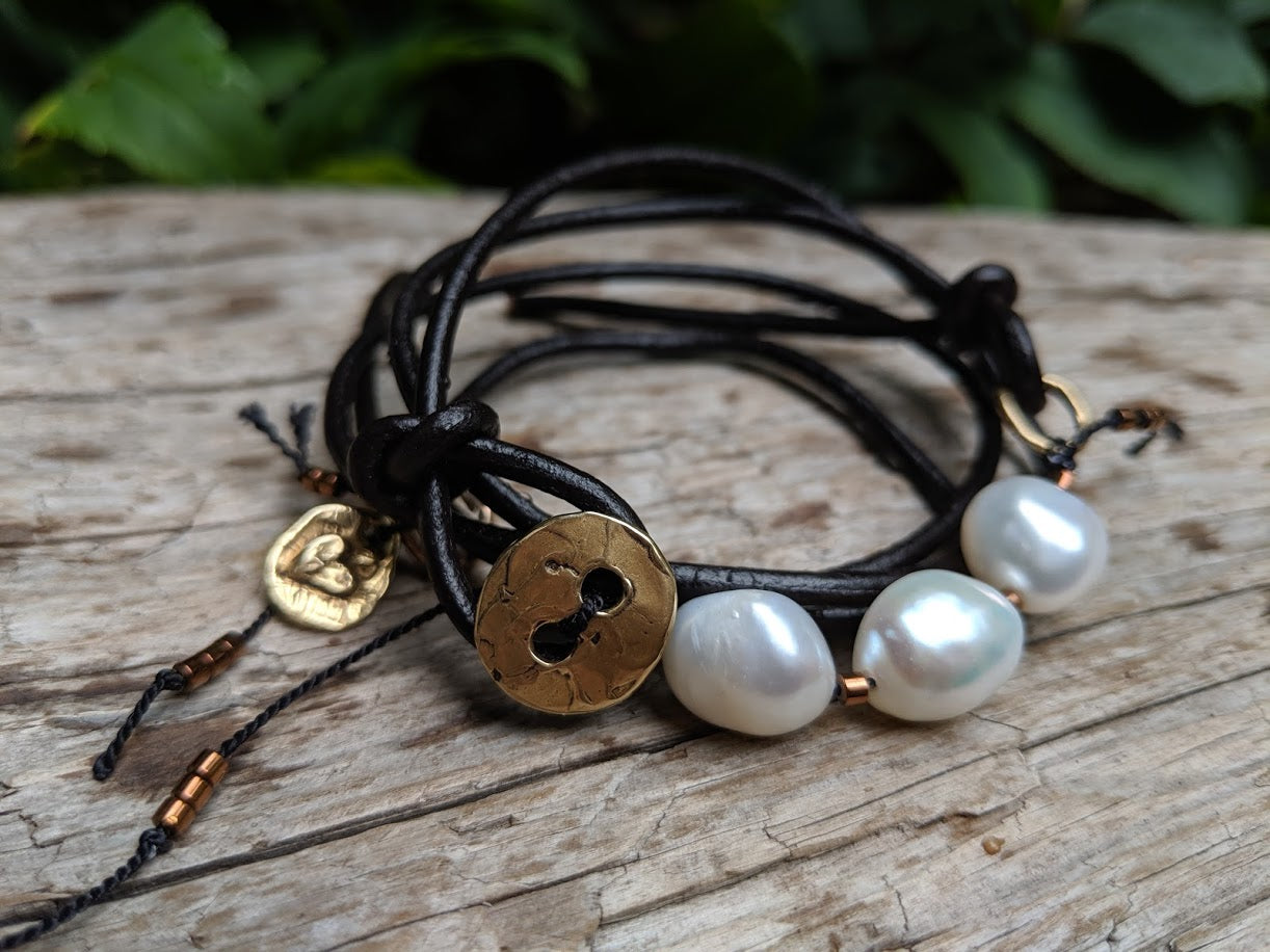 Pearl and black leather wrap bracelet with a button - by Aurora Creative Jewellery