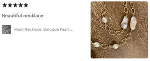 Long Baroque Pearl & Chain Necklace