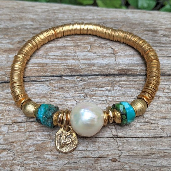 Handmade artisan genuine turquoise and Edison pearl heart elastic bracelet by Aurora Creative Jewellery