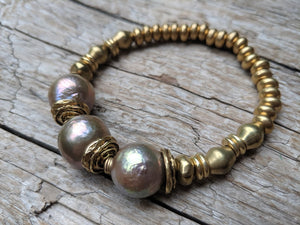Three Champagne Pink Pearl & African Brass Elastic Bracelet by Aurora Creative Jewellery