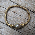 Champagne Pink Pearl & African Brass Elastic Bracelet by Aurora Creative Jewellery