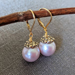 Handmade artisan pink pearl and gold drop earrings by Aurora Creative Jewellery
