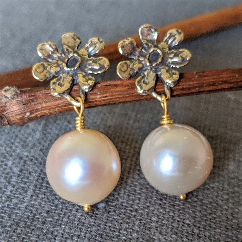 Handmade artisan gold flower and blush pink Edison pearl drop earrings by Aurora Creative Jewellery