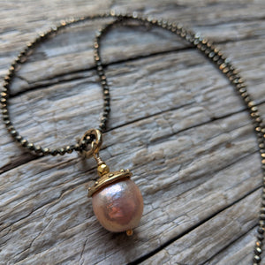 Pyrite & Edison Pearl Pendant Necklace