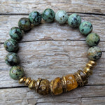 Handmade Raw Baltic Amber & African Turquoise Gemstone Forest Green Earthy Elastic Bracelet by Aurora Creative Jewellery