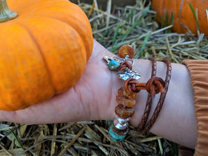 Raw rough Baltic amber and turquoise bracelet by Aurora Creative Jewellery