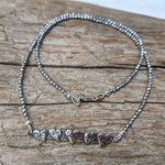 Silver hearts and silver hematite thin dainty gemstone necklace by Aurora Creative Jewellery