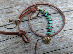 Turquoise leather button wrap bracelet with heart charm