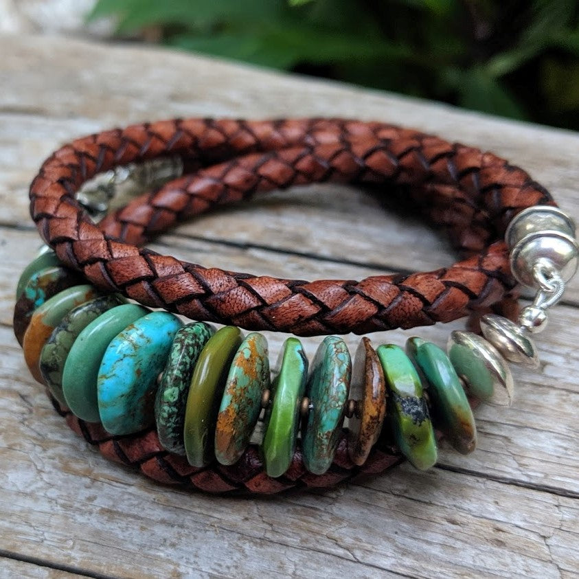 Large chunky turquoise and thick brown leather wrap bracelet, by Aurora Creative Jewellery