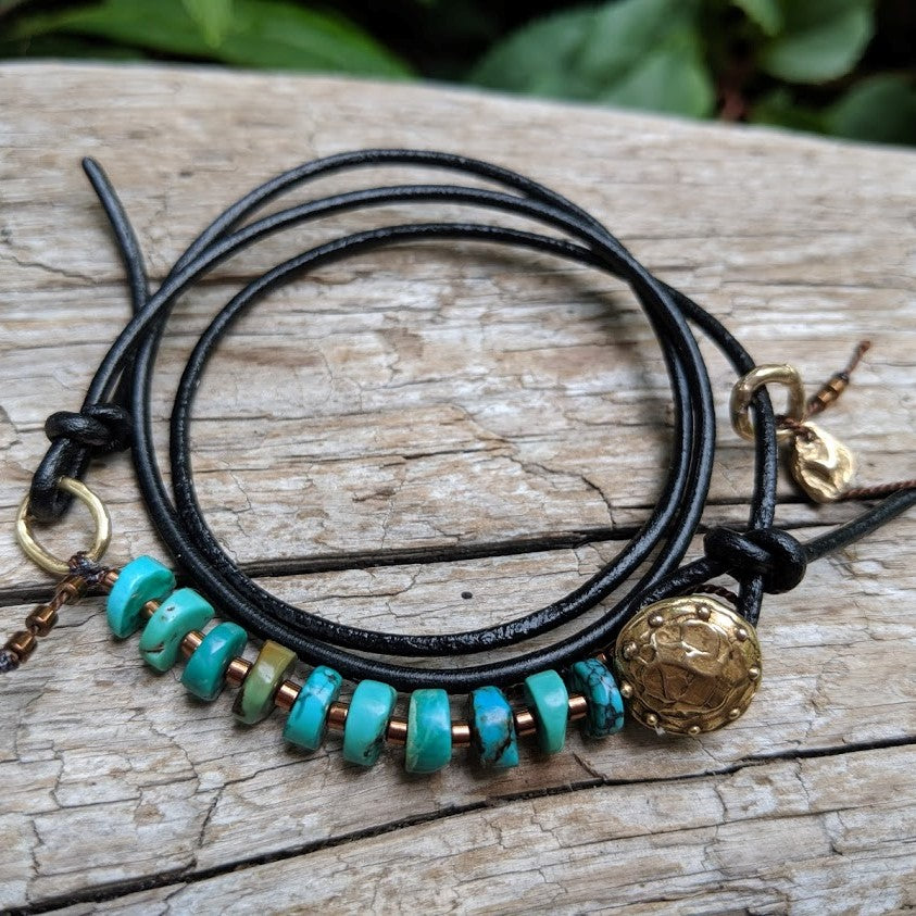 Boho Natural Turquoise Black Leather Wrap Bracelet