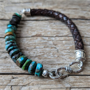 Handmade artisan natural turquoise and leather bracelet for men or women by Aurora Creative Jewellery