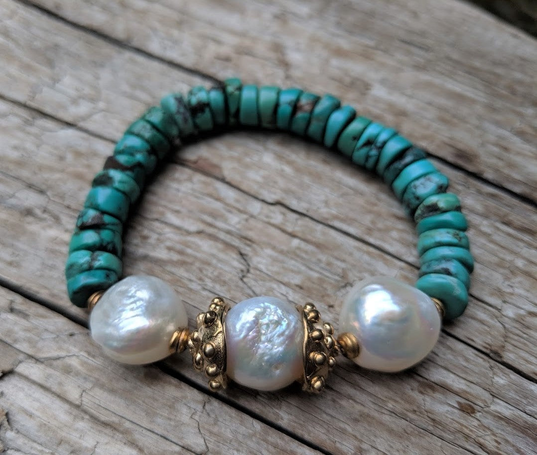 Handmade Turquoise gemstone & Three White Pearls Elastic Bracelet by Aurora Creative Jewellery