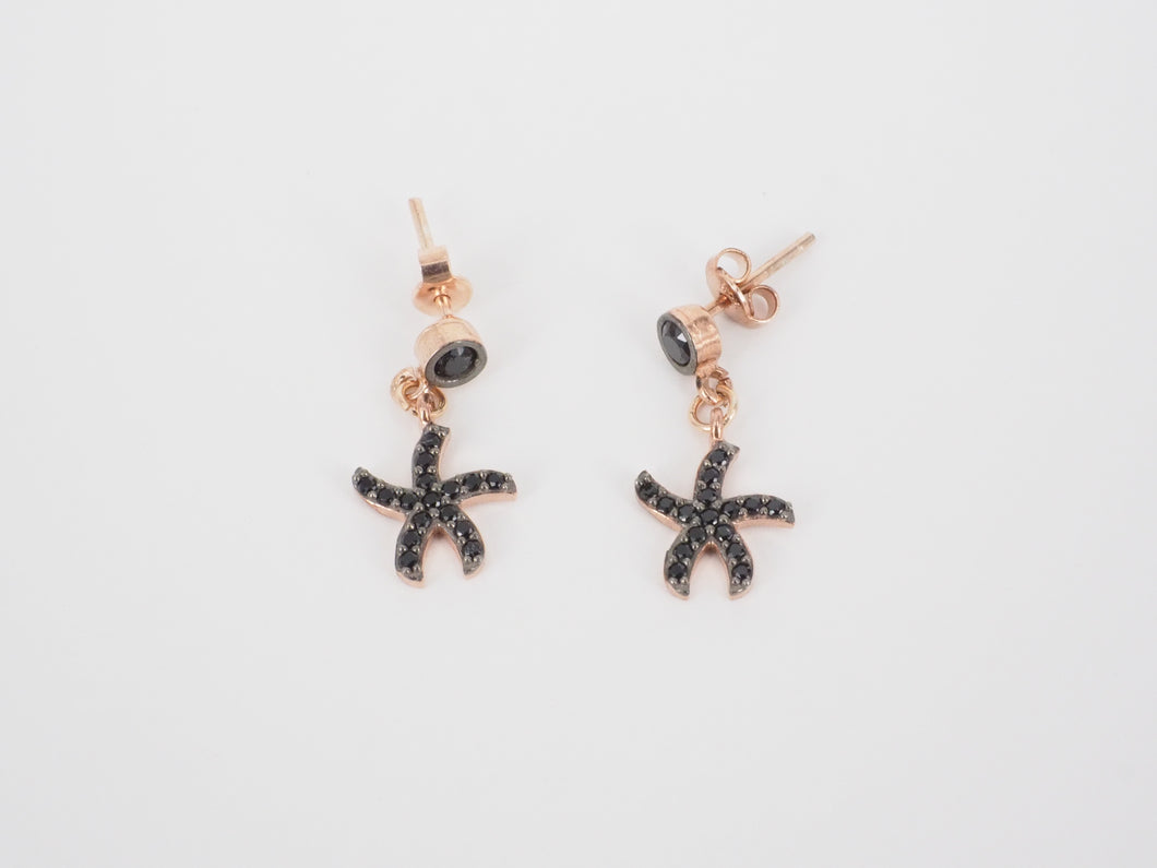 Black Starfish Earrings