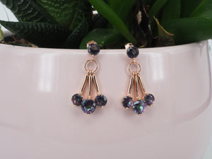 Earring Topaz Three Lines