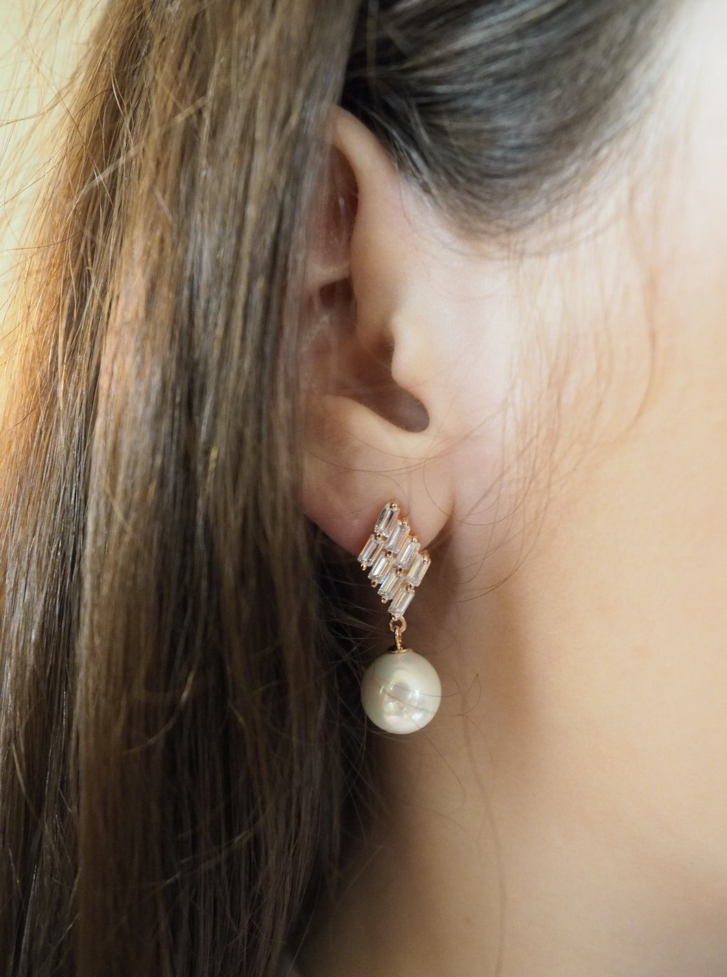 Earring Pearl with Zirconia