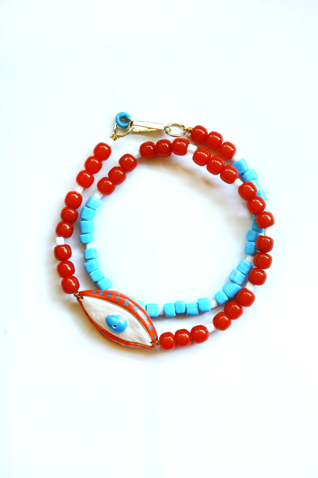 Necklace Apple of my Eye Red and Turquoise