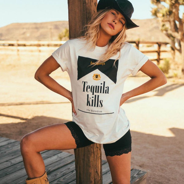 TEQUILA KILLS TEE - WHITE / BLACK