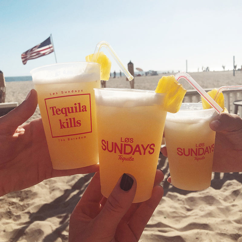 Los Sundays Tequila Kills cups at beach