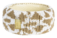 Load image into Gallery viewer, BEADED BRACELET BROAD WHITE/GOLD - RETURN TO SENDER