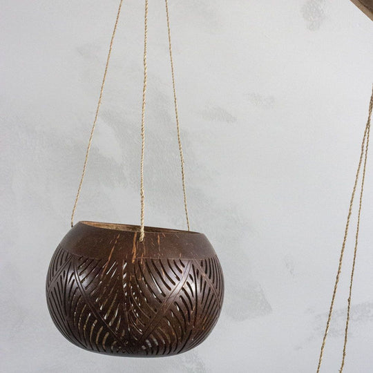 Carved Coco Hanging Basket