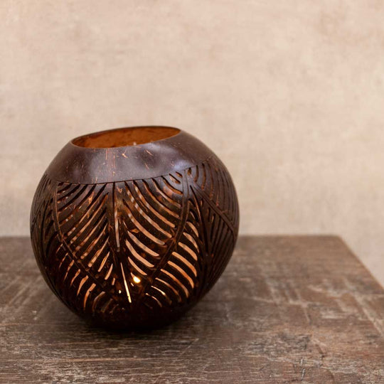 Carved Coco Wax Holder