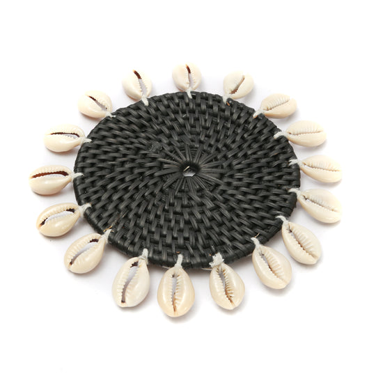 Set of 2 Cowrie Coasters - Black