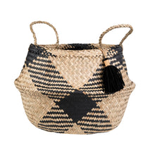 Load image into Gallery viewer, Black Tribal Tassel Basket