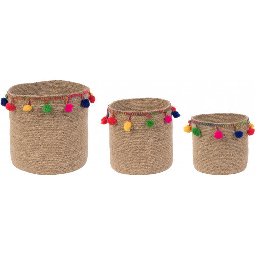 Set of 3 Seagrass Planters with Pompoms