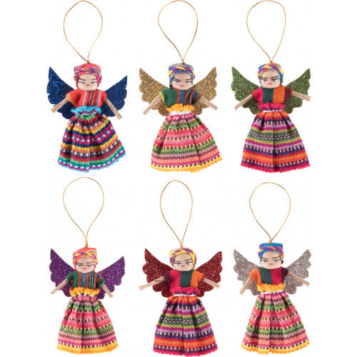 Set of 2 Guatemalan Worry Doll Christmas Angels