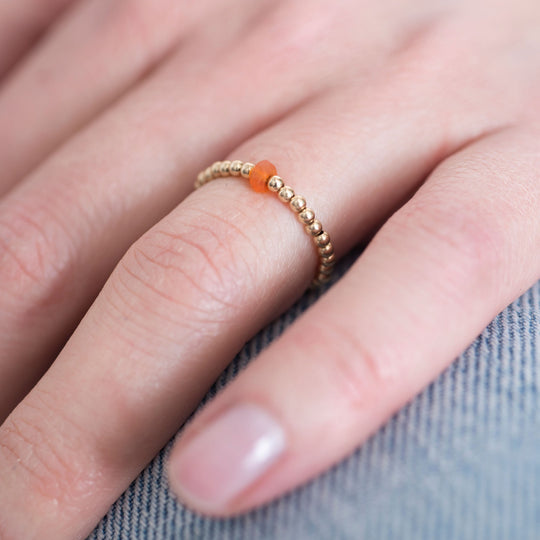 Sparkle Carnelian Gold Ring