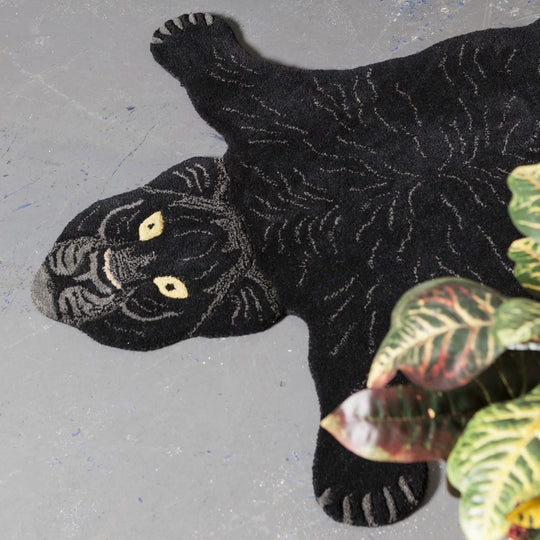 Large Fiery Black Panther Rug
