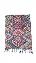 Load image into Gallery viewer, Blue, Red & Green Boucherouite Rug