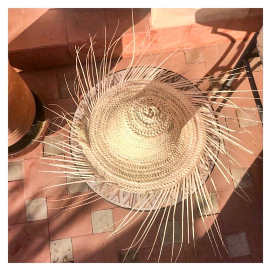 Palm Hat with Fringes