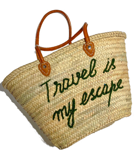 Straw Shopper with Travel Quote