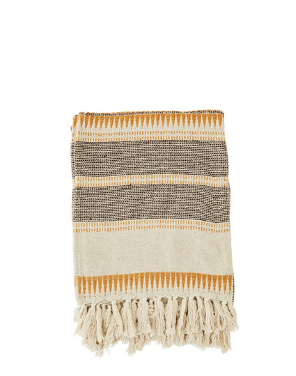 Striped Woven Throw with Fringes