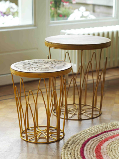Set of 2 Lotus Stools / Side Tables