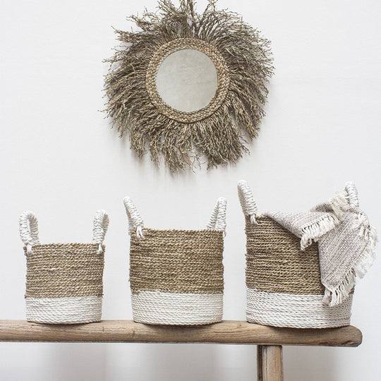 White Striped Seagrass Basket - Small