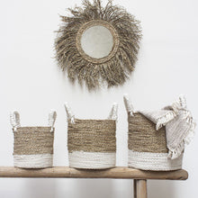 Load image into Gallery viewer, White Striped Seagrass Basket - Medium