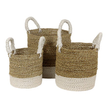 Load image into Gallery viewer, White Striped Seagrass Basket - Small