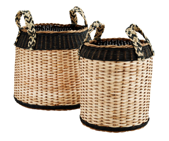 Set of 2 Rattan Baskets with Handles