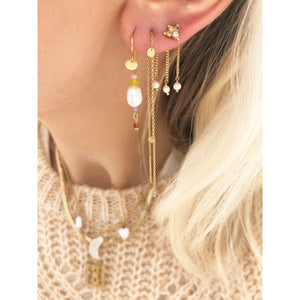 STINE A - PETIT BAROQUE PEARL EARRING GOLD W/CANDY STONES - SOFT LIME