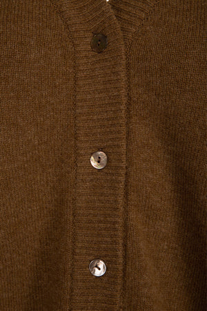 FICUS FOLIUM - BOYFRIEND CARDI - BROWN SUGAR