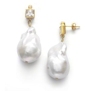ANNI LU - BAROQUE PEARL BLING EARRINGS - LINEN