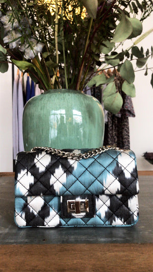 ROUGH STUDIOS - MINI IKAT BANDITA BAG - GREEN/BLACK/ECRU