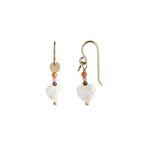 STINE A - LOVE HEART EARRING GOLD WITH GEMSTONES - PASTEL CORAL MIX