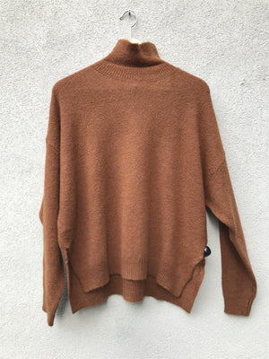 VANESSA BRUNO - JAVA ROUND NECK PULLOVER - MARRON