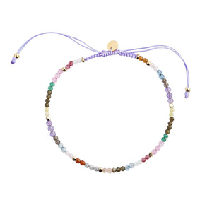 STINE A - RAINBOW MIX & VIOLET RIBBON BRACELET