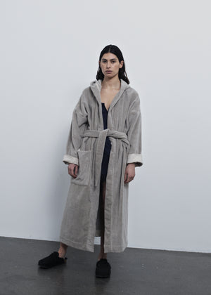 AIAYU - HOODED BATHROBE TERRY - DRIED LINEN