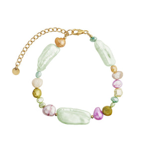 STINE A - BAROQUE PEARL BRACELET - GREEN MINT & PASTEL MIX